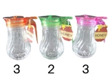 Glass honey pot, 3 assort, 3.5 x 2.3 x 4.4 in ,8pks