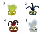 Party mask with long fur and rhinestone ,12pks