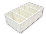 Basket with divider, white, 4.4 x 7.9 x 2.4 in ,10pks