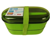 2 tier lunch box with chopsticks, green, 6.49 x 3.14 x 3.42 in ,8pks