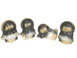 Raccoon figurine assorted 4 types, 3.1 × 3.1 × 4.3 in, 12pks