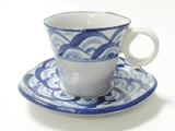 Cup and saucer, wave, d3.15 x h2.76 in ,6pks