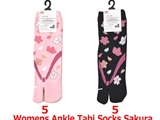 Womens ankle tabi socks, sakura, 2 assort, US size 6-8, 10pks