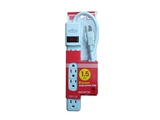 1 5FT 6 Outlet Surge Power Strip With Circuit Breaker Switch   90J 125V 15A