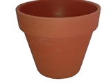 Unglazed clay flower pot