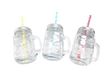 Drinking glass jar w/ straw, 3 assort, d3 x h5.3 in, 9pks