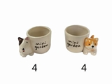 Flower pot, dogs, 2 assort, 2.8 x 3.9 x 2.4 in, 8pks