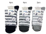 Crew socks, low gauge, men, striped, 3 assort, 7~9 in, 10pks