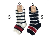 Room socks, short, tricolor, 2 assort, 4.38 x 7.92 in, 10pks