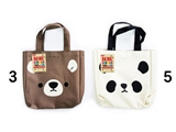 Hand bag, panda and bear, 9.5 x 9.8 x 1.9 in, 8pks
