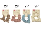 Hair scrunchy, faux linen, 4 assort, 1.2 x 3.2 in, 8pks